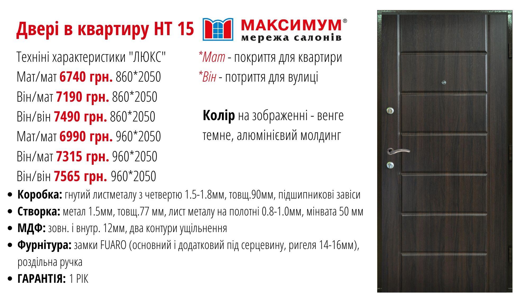 вхідні двері власного виробницьва максимум ht15 + опис АКЦІЯ